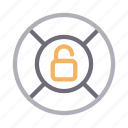 lifetube, protection, safety, unlock, unsecured icon