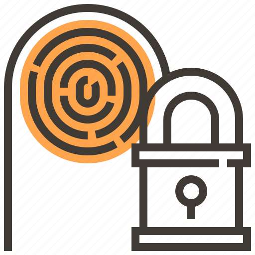 fingerprint, key, locked, privacy, protect, safety, security icon