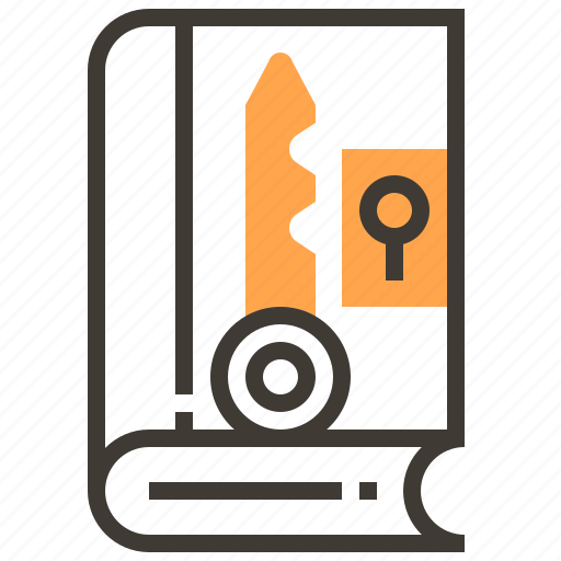 book, key, locked, privacy, protect, safety, security icon