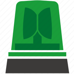 alarm, green, light, siren, warning icon