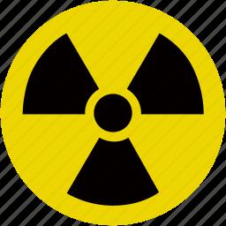danger, energy, hazard, nuclear, radioactive, warning icon