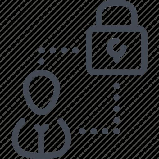 access, lock, password, person, profile, security, user icon