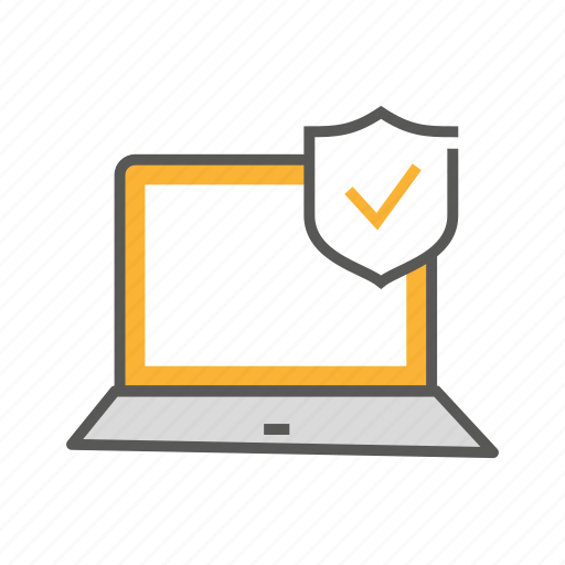 laptop, protection, safety, secure, security, shield icon