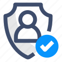 account, person privacy, protection, security, shield icon