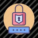 lock, pass, password, pin