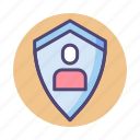 person, protected, protection, security, shield icon