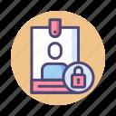badge, card, identification, locked, user icon