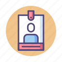 badge, card, identification, pass, user icon