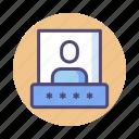 password, pin, security pin, user, user password icon