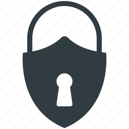 padlock, password, privacy, security, shield shape icon