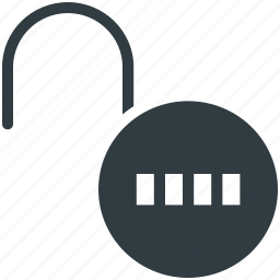 code lock, combination lock, open padlock, password, security icon