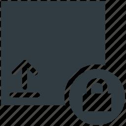 data protection, lock sign, protection symbol, upload sign, upward arrow icon