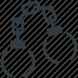 crime, handcuff, manacles, shackles, speedcuffs icon
