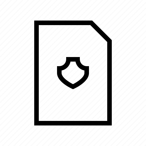 document, protect, protection, secure, shield icon