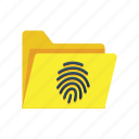 archive, data, file, fingerprint, folder, private, secured icon