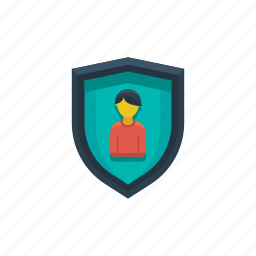 account, business, man, profile, protected, shield, user icon