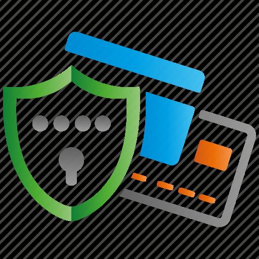 creditcard, encryption, firewall, guard, protection, shield icon