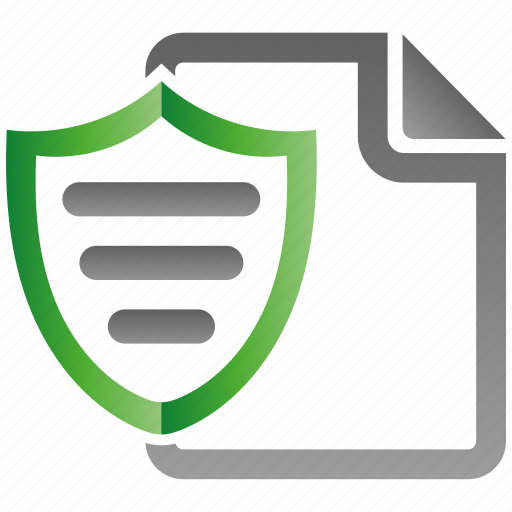 document, encryption, firewall, guard, protection, shield icon