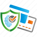 encryption, fingerprint, firewall, guard, payment, shield icon