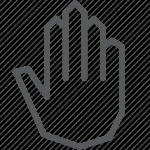 cursor, hand, open, palm, selection, stop icon