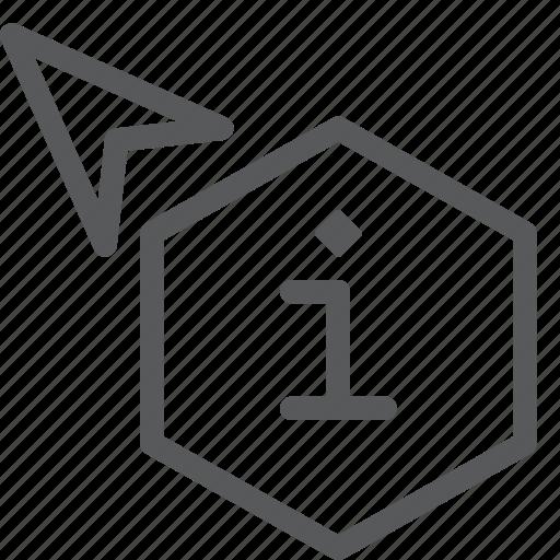 arrow, cursor, hexagon, information, point, pointer, selection icon