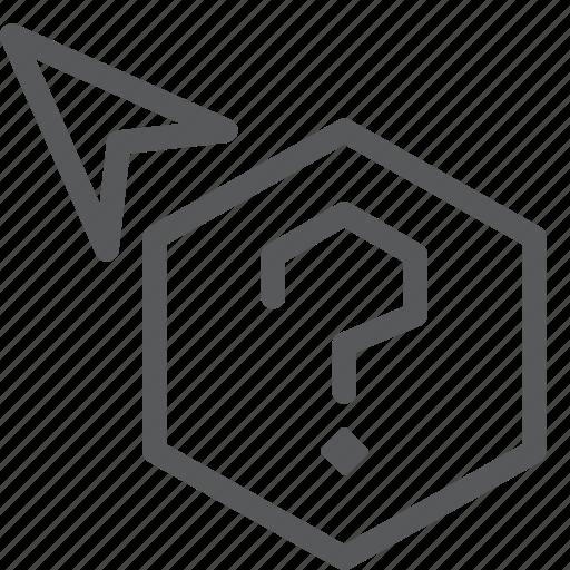 arrow, cursor, hexagon, point, pointer, question, selection icon