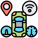 automated, autopilot, car, driving, system icon