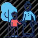 walking, family, grandmother, grandson icon
