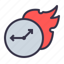 boostup, dedline, faster, fire, speedup, timer, watch icon
