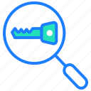 key, optimization, privacy, search, security, seo icon