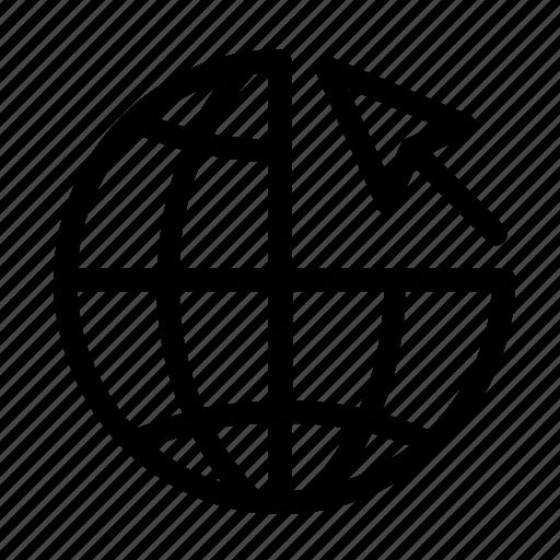 arrow, globe, internet, pointer, world icon