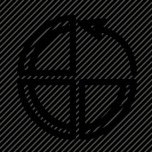 arrow, chart, circle, diagram, graph icon