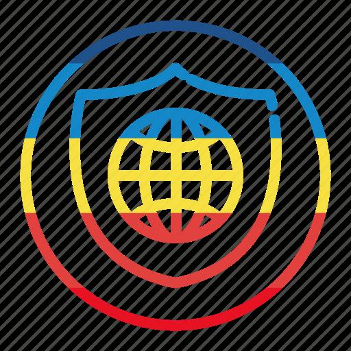 globe, shield, world icon