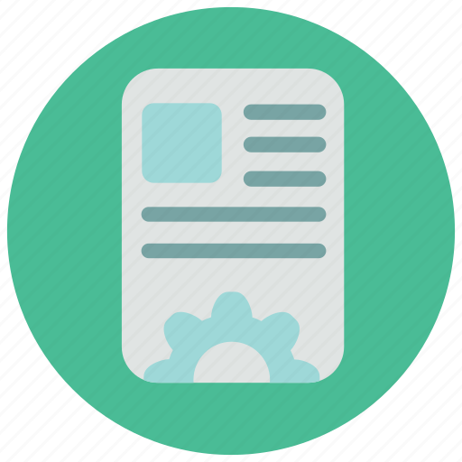article, document, page, paper, settings icon