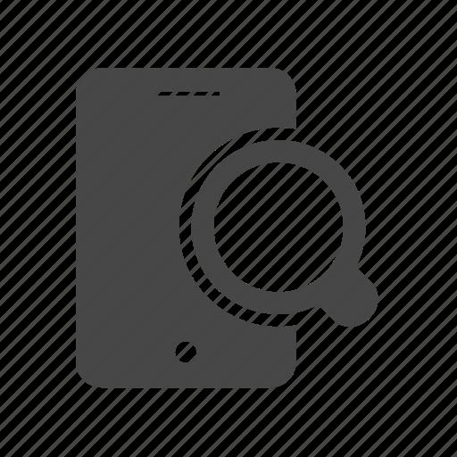 magnifier, mobile, search, seo, smartphone icon