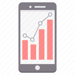 business, chart, diagram, graph, mobile, phone, smartphone icon