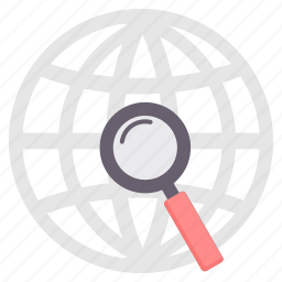 browser, country, location, search, seo, world, zoom icon