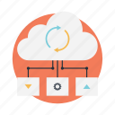 cloud computing, cloud data center, cloud network, cloud server, cloud storage icon