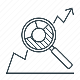 analysis, analytics, chart, graph, magnifier, seo icon