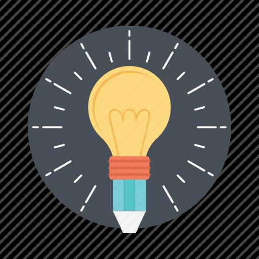 best solution, bulb pencil, ideas inspiration, innovation, splash pencil icon