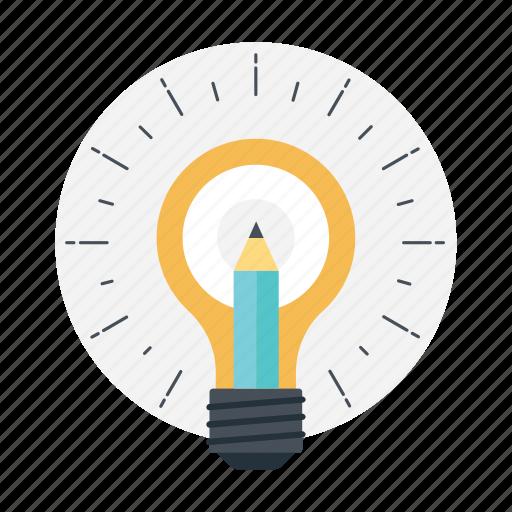 bulb pencil, creativity, ideas inspiration, innovation, splash pencil icon