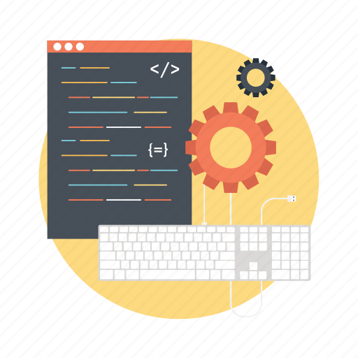 computer programming, custom code, software code, software development, web code icon