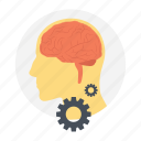 brainstorming, creative solution, creative thinking, mind gears, mind planning icon