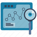 eye, information, internet, magnifer, monitoring, seo, statistics icon