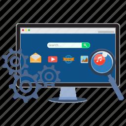 cogwheel, internet, magnifer, optimization, search engine optimization, seo, web icon