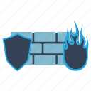 development, fire, firewall, internet, network, security, wall icon