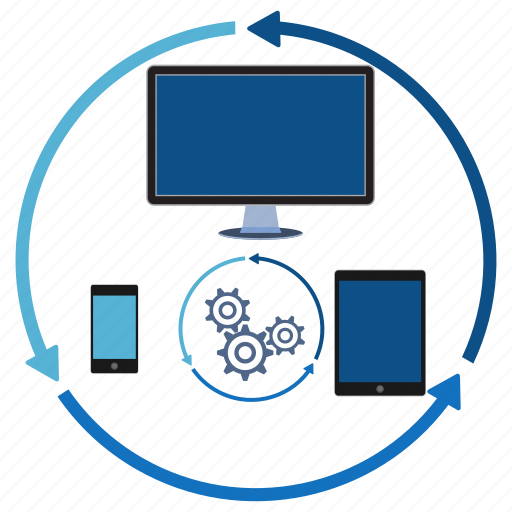 content, data, device, information, internet, network, synchronization icon