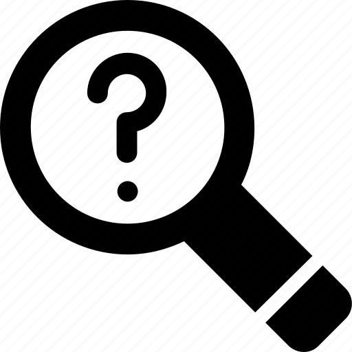 faq, find, invention, magnifier, question icon