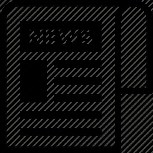 journal, news, newsletter, newspaper, newsprint icon