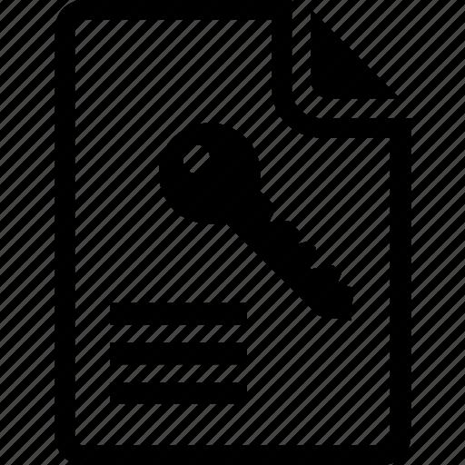 access, document, encryption, file access, keyword icon